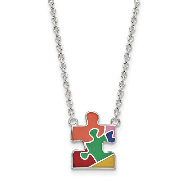 Sterling Silver Rhodium-plated Enameled Autism Puzzle Piece Necklace