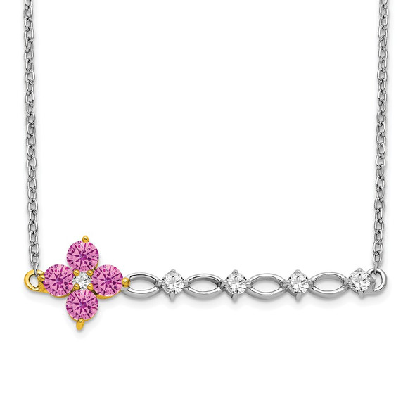 14k Two-tone Gold Synthetic Pink Sapphire/Diamond Floral Bar Necklace