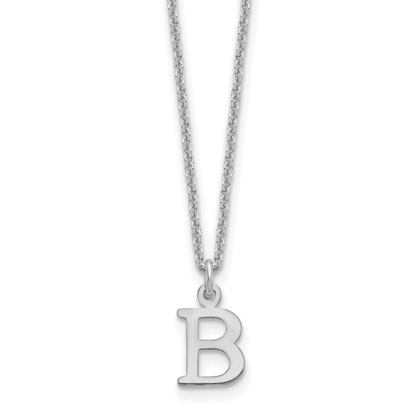 14k White Gold Cutout Letter B Initial Necklace