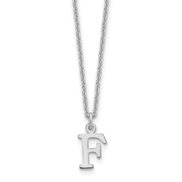 14k White Gold Cutout Letter F Initial Necklace