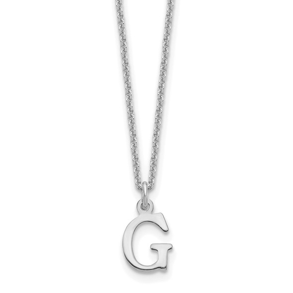 14k White Gold Cutout Letter G Initial Necklace