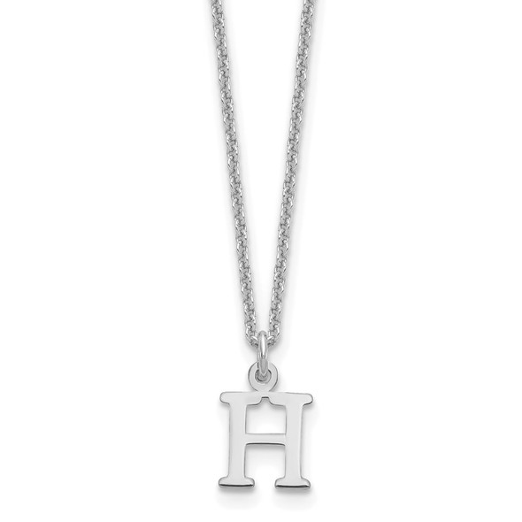 14k White Gold Cutout Letter H Initial Necklace