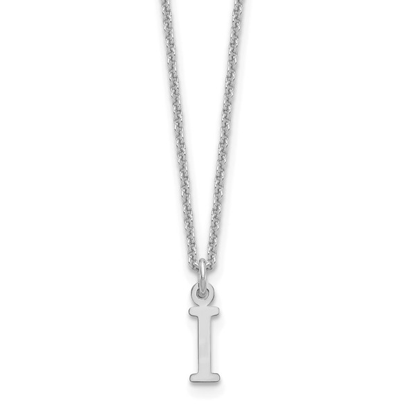 14k White Gold Cutout Letter I Initial Necklace