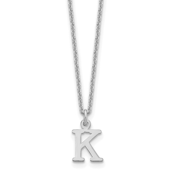 14k White Gold Cutout Letter K Initial Necklace