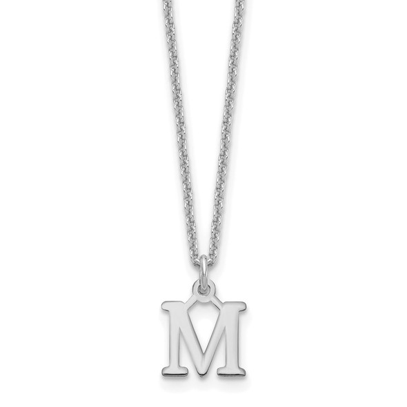 14k White Gold Cutout Letter M Initial Necklace