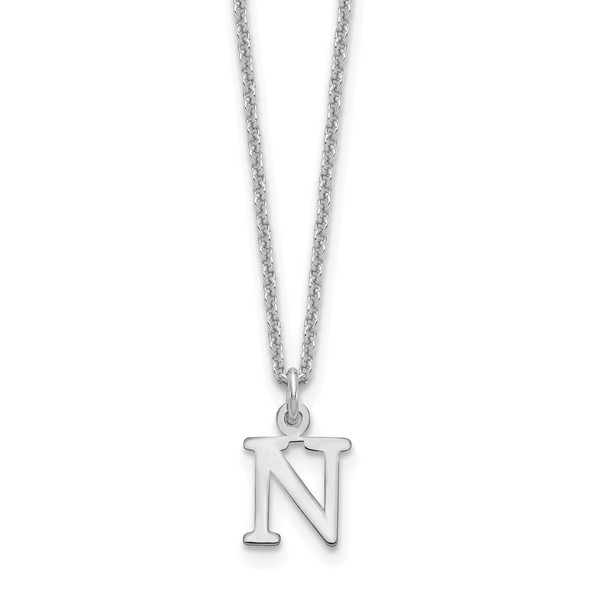 14k White Gold Cutout Letter N Initial Necklace