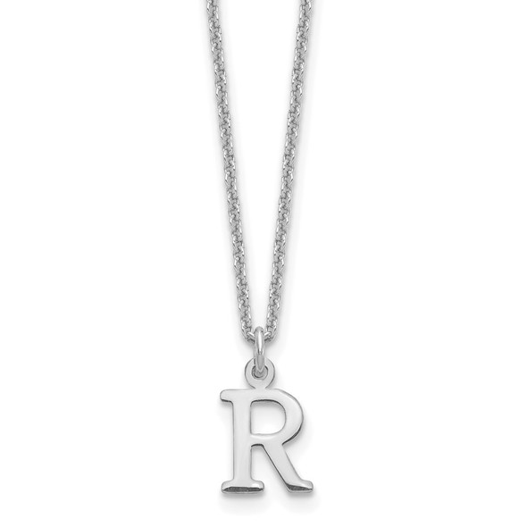 14k White Gold Cutout Letter R Initial Necklace