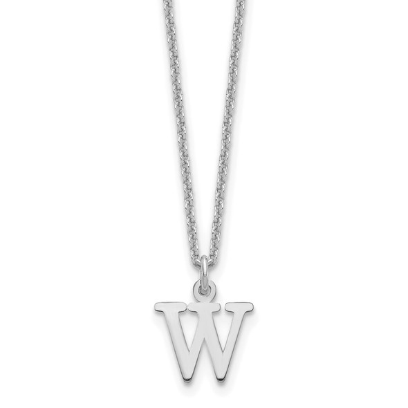 14k White Gold Cutout Letter W Initial Necklace