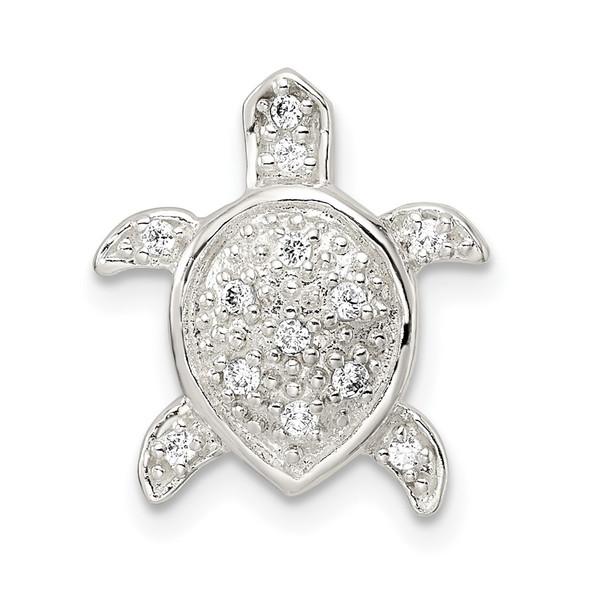 Sterling Silver Polished CZ Turtle Chain Slide Pendant