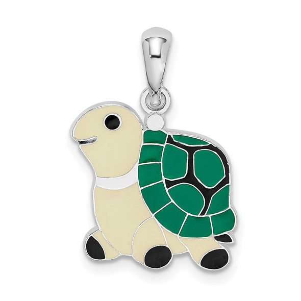 Sterling Silver Polished Enameled Green Turtle Pendant