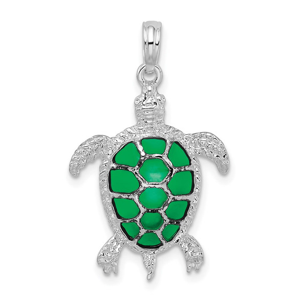 Sterling Silver Polished Enameled Green Sea Turtle Pendant QC9780