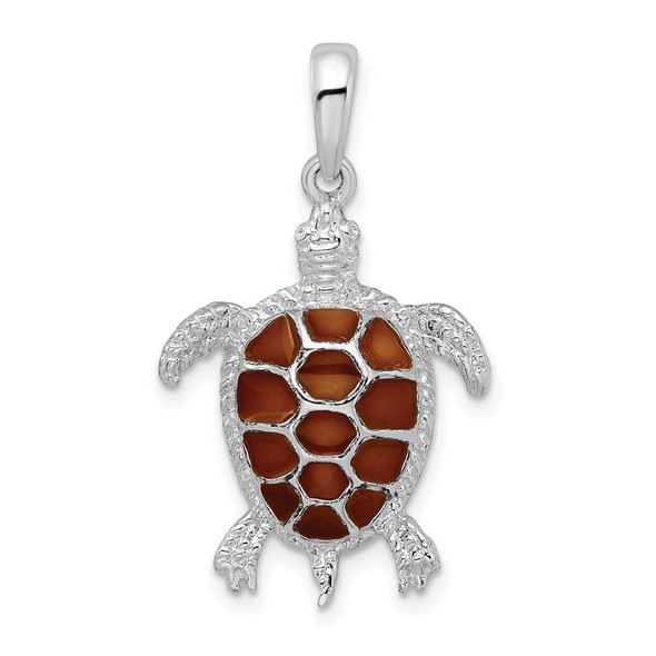 Sterling Silver Polished Enameled Brown Sea Turtle Pendant QC9779
