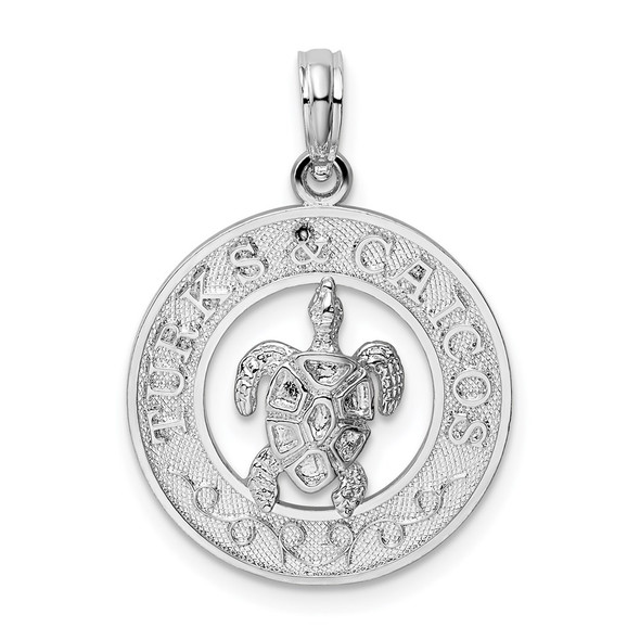 Sterling Silver Polished Turks and Caicos Circle w/Turtle Pendant