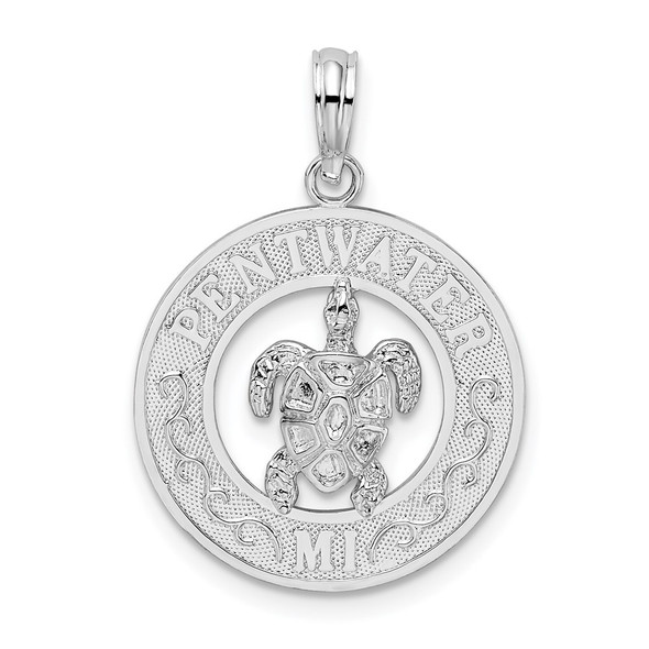 Sterling Silver Polished Pentwater, MI Circle w/Turtle Pendant