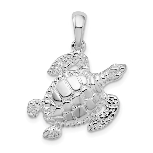 Sterling Silver Polished Sea Turtle Pendant QC10273