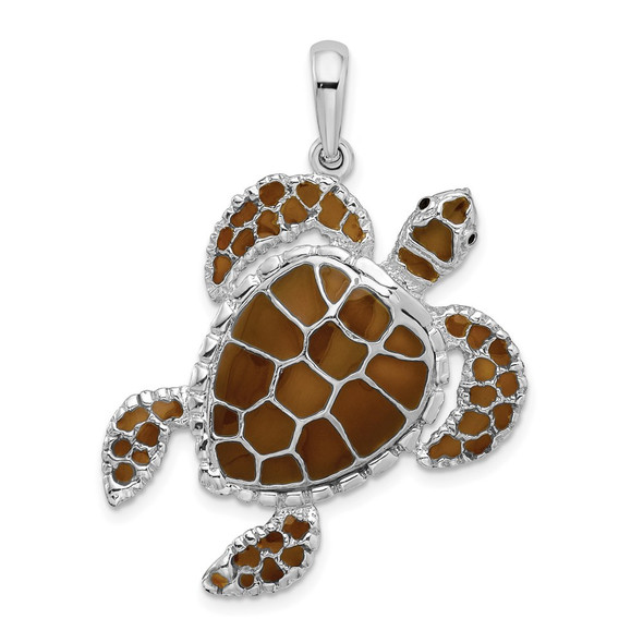 Sterling Silver Polished Enameled Brown Sea Turtle Pendant QC9778