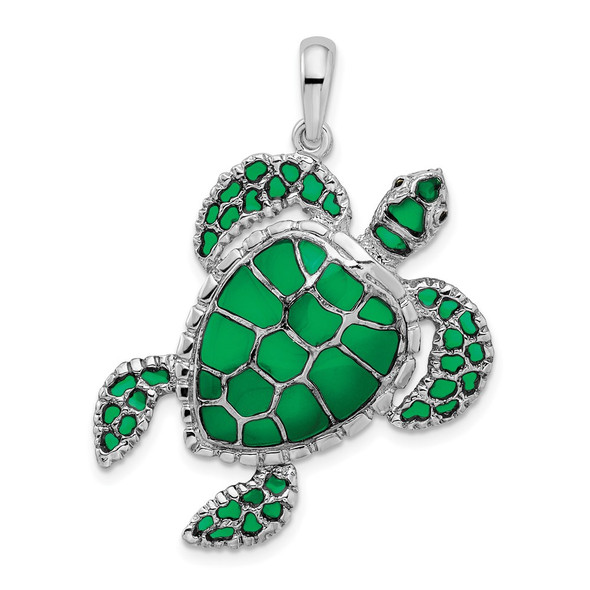 Sterling Silver Polished Enameled Green Sea Turtle Pendant QC9777