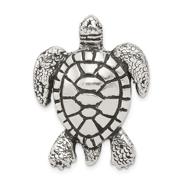 Sterling Silver Antiqued & Textured Turtle Chain Slide Pendant