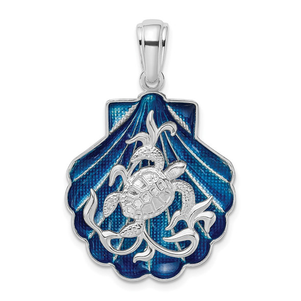 Sterling Silver Polished Enameled Blue Shell w/Turtle Pendant
