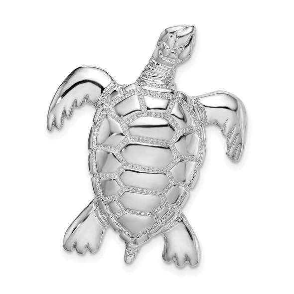 Sterling Silver Polished Sea Turtle Slide Pendant