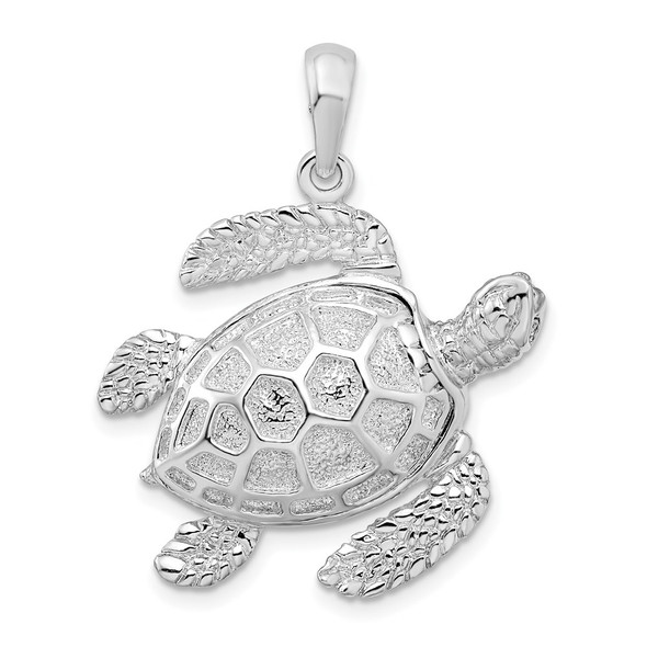 Sterling Silver Polished 3D Large Sea Turtle Pendant
