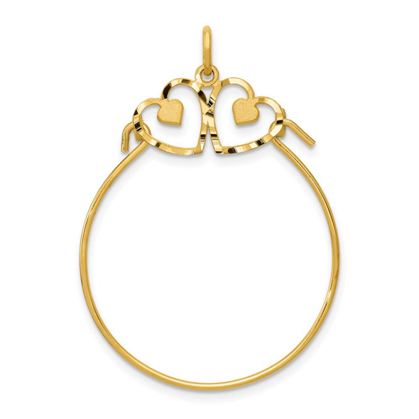 14k Yellow Gold Heart Charm Holder Pendant
