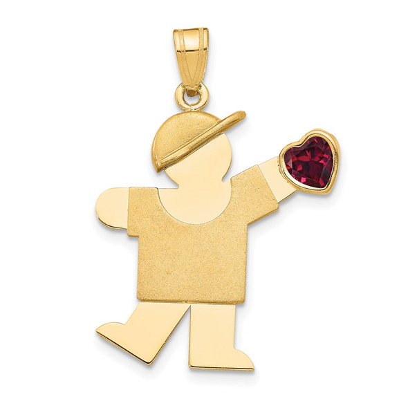 14k Yellow Gold Boy with CZ January Simulated Birthstone Pendant