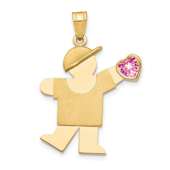 14k Yellow Gold Boy with CZ October Simulated Birthstone Pendant