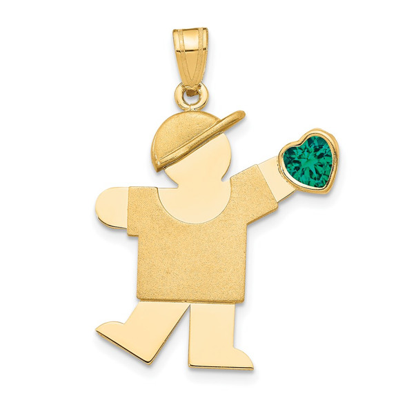 14k Yellow Gold Boy with CZ May Simulated Birthstone Pendant