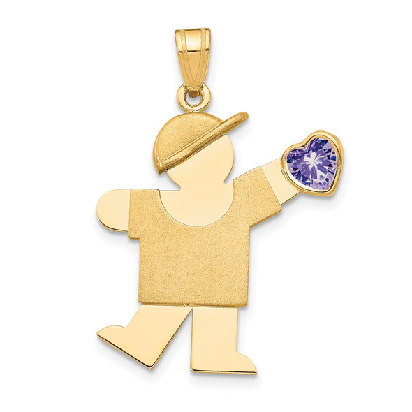 14k Yellow Gold Boy with CZ June Simulated Birthstone Pendant
