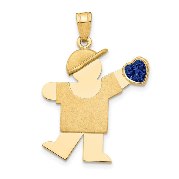 14k Yellow Gold Boy with CZ September Simulated Birthstone Pendant