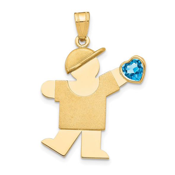 14k Yellow Gold Boy with CZ December Simulated Birthstone Pendant
