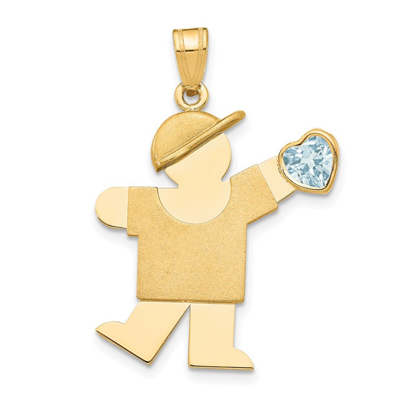 14k Yellow Gold Boy with CZ March Simulated Birthstone Pendant