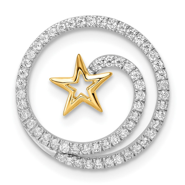 14k Two-tone Gold Circle with Star Diamond Chain Slide Pendant