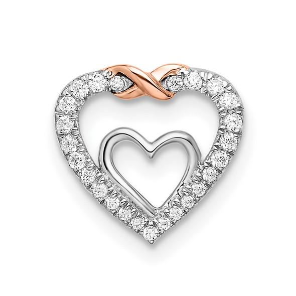 14k White & Rose Gold Heart Diamond Chain Slide Pendant