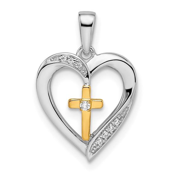 14k Two-tone Gold Heart with Cross Diamond Pendant PM8532-003-WYA