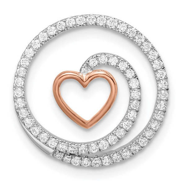 14k Two-tone Gold White and Rose Circle with Heart Diamond Chain Slide Pendant