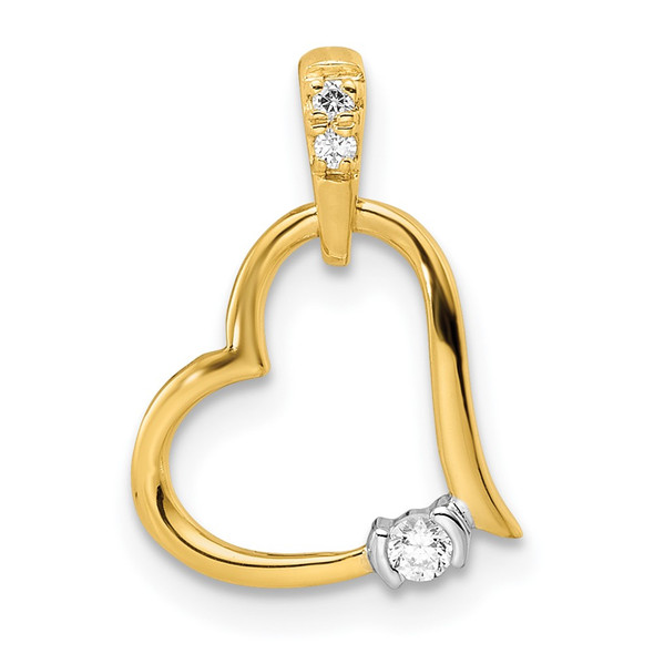 14k Two-tone Gold Polished Heart Diamond Pendant