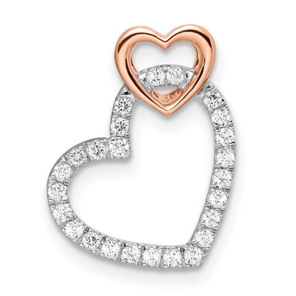 14k Two-tone Gold White and Rose Double Heart Diamond Slide Pendant