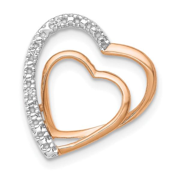 14k Rose Gold .01ctw. Diamond Double Heart Chain Slide Pendant