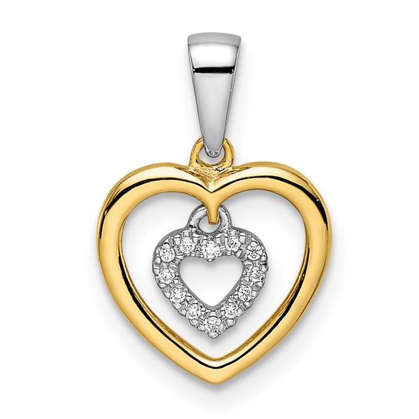 14k Two-tone Gold Heart Dangle Diamond Pendant