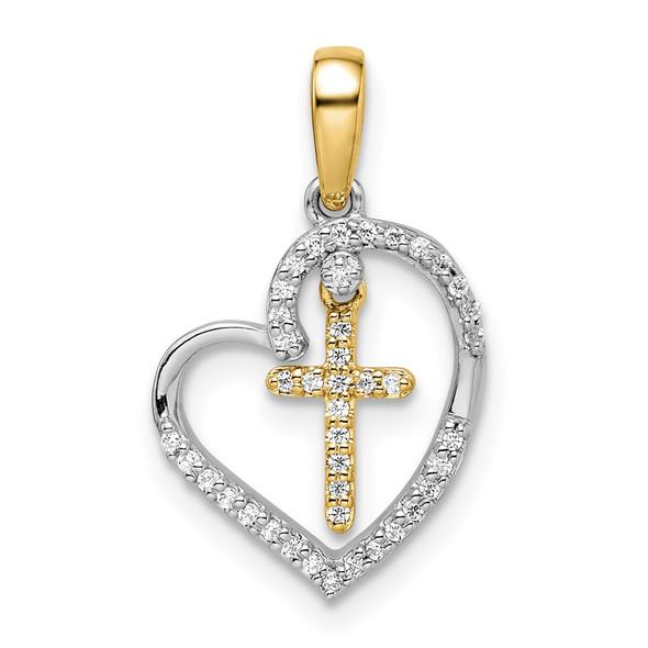 14k Two-tone Gold Heart with Cross Diamond Pendant PM8538-012-WYA