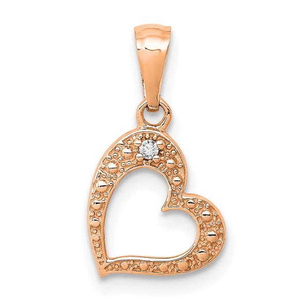 14k Rose Gold .01ctw. Diamond Heart Pendant