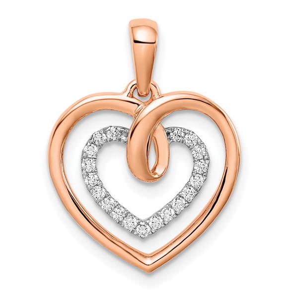 14k Two-tone Gold White and Rose Heart Diamond Pendant PM6068-010-WRA
