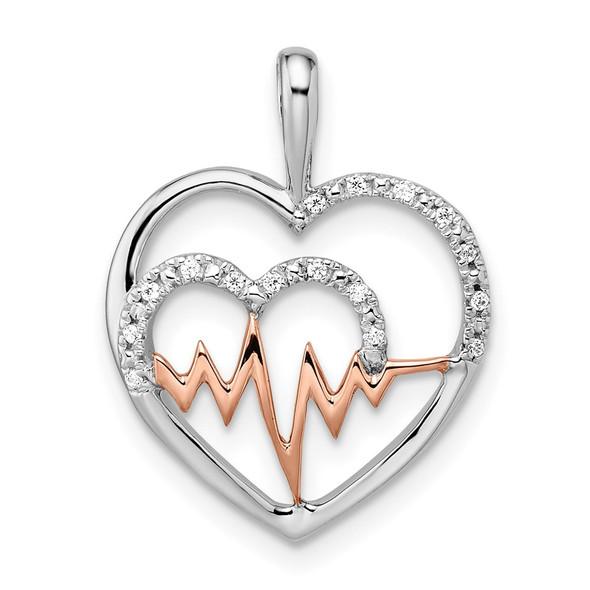 14k Two-tone Gold White and Rose Heart w/Beat Diamond Pendant