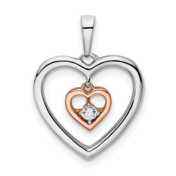 14k Two-tone Gold White and Rose Double Heart Diamond Pendant