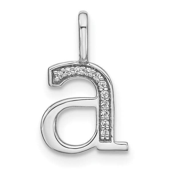 14K White Gold Diamond Lower Case Letter A Initial Pendant PM8366A-004-WA