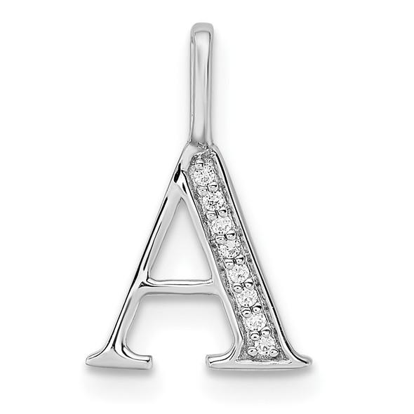 14K White Gold Diamond Letter A Initial Pendant PM8365A-002-WA