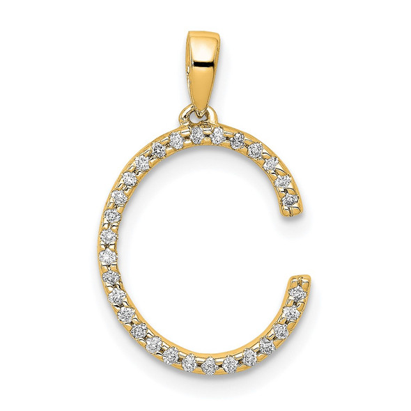 14k Yellow Gold Diamond Letter C Initial Pendant