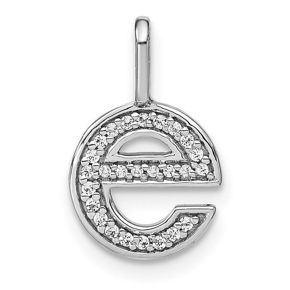 14K White Gold Diamond Lower Case Letter E Initial Pendant PM8368E-009-WA